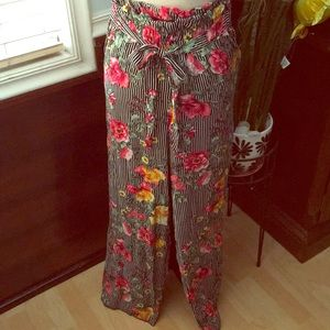 Pants - Black floral loose pants, NWOT